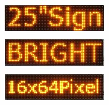 "25""x 6.5"" LED Sign Programmable Scrolling Window Message Display Yellow P10"