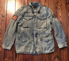 Polo Ralph Lauren Men's Military Field Jacket Army Denim Patch Flag MED $295.00