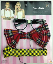 NERD COSTUME KIT Set Geek Glasses Schoolboy Fancy Dress Braces Bow Tie Party