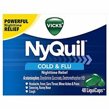 4 Pack - Vicks NyQuil Cold and Flu Nighttime Relief LiquiCaps, 48 Count Each