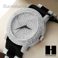 Men LIL WAYNE Hip Hop Iced Out Bling Diamond Rapper's Black Silicone Watch 202S