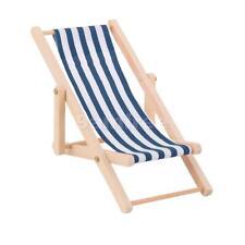 Dolls House Miniature Garden Beach Furniture Blue Stripe Folding Deck Chair