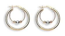9ct Yellow, White & Rose Gold Cradled Double Hoop and Bead Earrings - 24MM - WOW