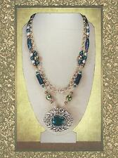 Russian Serpentine, Jade, & Gold Chain Victorian Revival Pendant Necklace 6015