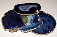 One Blue 18K Gold Leaf Agate Slice Gemstone Coaster Wine Glass Coasters