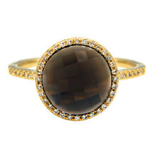 14K YELLOW GOLD DIAMOND CHECKERBOARD SMOKY TOPAZ HALO COCKTAIL ENGAGEMENT RING