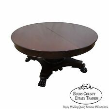 "Antique 60"" Round Claw Foot Dining Table w/ 5 Leaves"