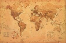 """WORLD MAP (LAMINATED) POSTER """"ANTIQUE STYLE"""" LARGE BRAND NEW WALL CHART 61X91CM"""