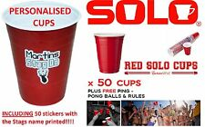 50 American PERSONALISED Red SOLO Party Cups 16oz Drinking Ping Pong Game
