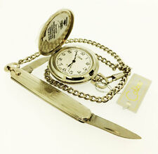 COLIBRI Japan Movement Pocket Watch with Knife and Chain, PWS-96030S, New in Box