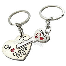 I Love You Heart+Arrow Key Couple Kin Chain Ring Keyring Keyfob Gift Couple Pair