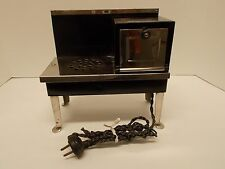Vtg Black & Chrome Child's Metal Electric Stove/Oven by Metal Ware Corp. WORKS!