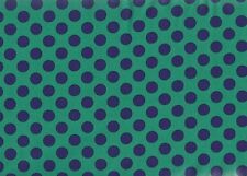 MICHAEL MILLER NAVY BLUE DOTS ON GREEN COTTON FABRIC BTY