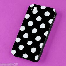L3X Black White Dots Back Skin Hard Cover Case for Apple i-phone 4 4S 4G G S