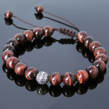Men's Braided Bracelet 8mm Red Tiger Eye 925 Sterling Silver Bead DIY-K 825M