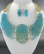 Women's TURQUOISE WITH GOLD FUNKY PENDANT Costume NECKLACE SET