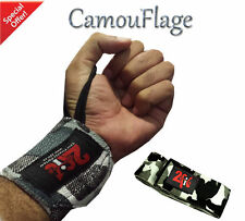 2Fit Weight Lifting Wrist Grip Support Wraps GYM Training Fist Straps CAMO Gray