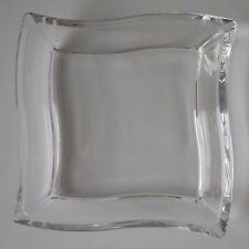 VILLEROY AND BOCH?  GLASS/CRYSTAL?  WAVEY DEEP SALAD PLATE NEW! square!