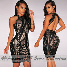 Casual Party Sexy Little Bodycon Dress Sleeveless High Neck Illussion Pattern