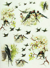 Rice Paper for Decoupage, Scrapbook Sheet, Craft Paper Swallows 2