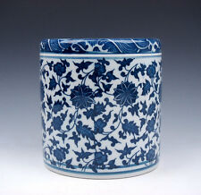 Blue&White QingHua Floral Painted Porcelain LARGE Brush Holder Pot #01221601