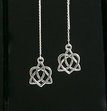 CELTIC INFINITY HEART STERLING SILVER Ear Threads Threader Earrings