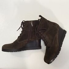 Womens AQUATALIA BY MARVIN K Army Olive suede ankle boots wedges sz. 10