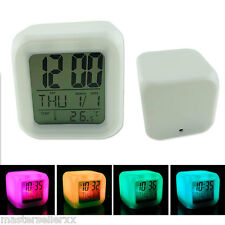 LED Glowing Electronic Alarm Clock Backlight Temperature Thermometer Calendar
