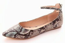 Soft Snake Print Shoe With Ankle Strap And Pointed Toe Sz 4