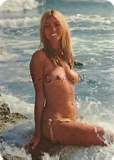 Original 60s German Pinup PC- Nude Blond Woman- Bikini Bottom- Waves Crash Over