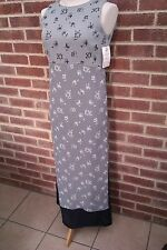 Grey & Navy Double Layered Long Sleeveless Dress With Round Neck - Size 12 - NEW