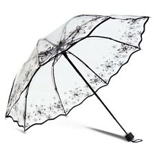 Women Transparent Umbrella Folding Monochrome Parasol Lady Rain/Clear Umbrellas