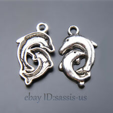 50pcs 22mm Charms Lover Dolphin Pendant Tibet Silver DIY Jewelry making A7431