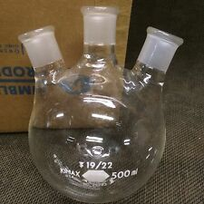 NEW Kimax 19/22 Tri top Round Bottom 500ml Boiling Flask
