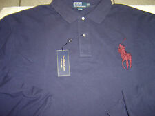 BIG MENS RALPH LAUREN NAVY W/BURGANDY LG PONY L/S MESH POLO SHIRT SIZE 5X $95