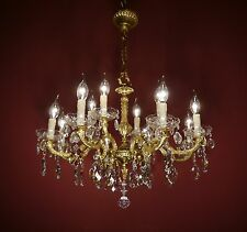 FINE ROCOCO GOLD BRONZE FRENCH CHANDELIER CRYSTAL GLASS VINTAGE LAMP