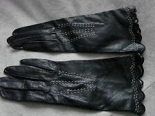Vintage Gloves UNUSED Edwardian 20s Leather Kid BLACK SUPPLE Details