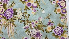 Kona Bay Asian Fabric 2007 Metallic BTY SADA-01 FLORAL Green Wisteria  COTTON