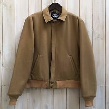 VINTAGE WOOLRICH corto cammello lana vergine Harrington Bomber Jacket Coat USA L