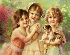 Three Sweet Girls with a Puppy  by Emile Vernon