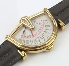 Jean D'eve gents gold plated sectora watch with silver dial on leather strap