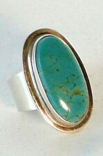 Vintage 50s American Indian Navajo V0 Star Turquoise Sterling Silver Ring Size 5