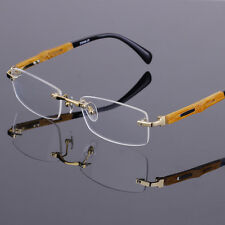Fashion Titanium Eyeglass Frames Men's Rimless Glasses Frames Bamboo Legs Gold