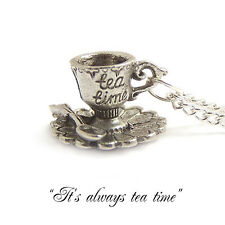 Alice in wonderland TEA CUP necklace teacup party mad hatter drink me eat silver