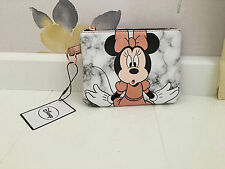 NEW DISNEY MINNIE MOUSE ROSE GOLD & MARBLE EFFECT ZIPPED COIN POUCH/MAKE UP BAG