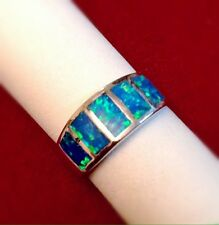 Unique Design Blue Fire Opal Women's Sterling Silver Fashion Ring Size 8