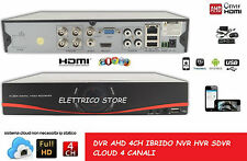 DVR AHD IBRIDO NVR HVR SDVR 4 CH CANALI AUDIO VIDEO FULL HD 960H CLOUD P2P