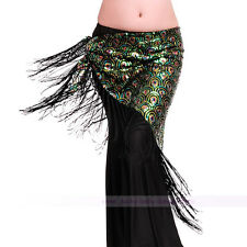 New Belly Dance Costume Sequins Hip Scarf Belt Tribal Triangle Shawl green color