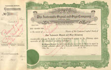 Automatic Signal Sign 192_ Canton Ohio Unissued old stock certificate