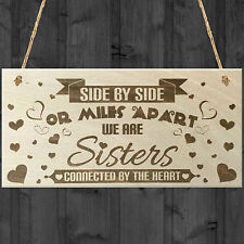 Side By Side Sisters Shabby Chic Wooden Hanging Plaque Love Friendship Sign Gift